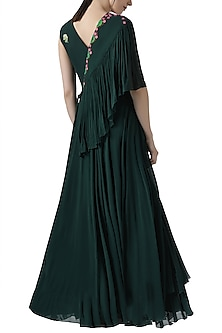 Deep green embroidered gown