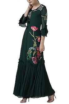 Deep green embroidered anarkali set by Limerick By Abirr N' Nanki