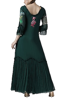 Deep green embroidered anarkali set