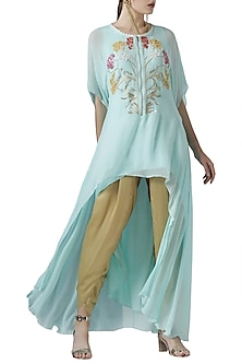Mint embroidered tunic with golden pants by Limerick By Abirr N' Nanki
