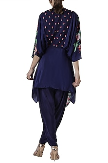 Navy blue embroidered tunic with dhoti pants
