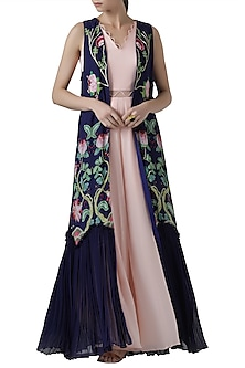 Blush pink jumpsuit with navy embroidered print cape by Limerick By Abirr N' Nanki
