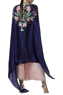 Blush pink kurta and palazzo with navy embroidered print cape by Limerick By Abirr N' Nanki