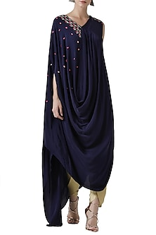 Navy blue embroidered drape tunic with gold tulip pants by Limerick By Abirr N' Nanki