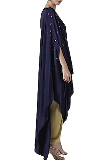 Navy blue embroidered drape tunic with gold tulip pants