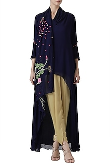 Navy blue embroidered tunic with gold dhoti pants