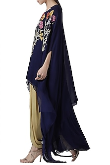 Navy blue embroidered tunic and cape with gold dhoti pants