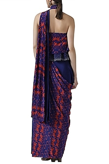 Navy blue embroidered pre-stitched saree