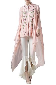 Blush pink embroidered drape top by Limerick By Abirr N' Nanki