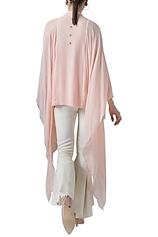 Blush pink embroidered drape top