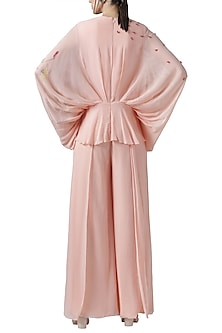 Blush pink embroidered drape jumpsuit by Limerick By Abirr N' Nanki
