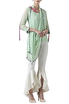 Green embroidered drape top by Limerick By Abirr N' Nanki