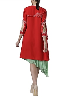 Green asymmetrical tunic with red embroidered jacket