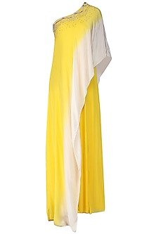 Yellow and Ivory Ombre Jumpsuit with Attached Embroidered Cape