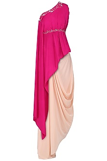 Fuschia Pink Embroidered Asymmetrical Top with Blush Pink Drape Skirt