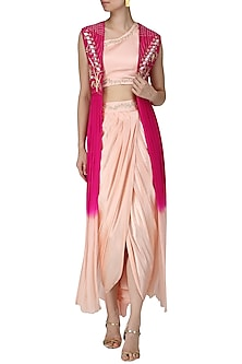 Blush Pink Embroidered Crop Top, Drape Skirt and Ombre Cape by Limerick By Abirr N' Nanki