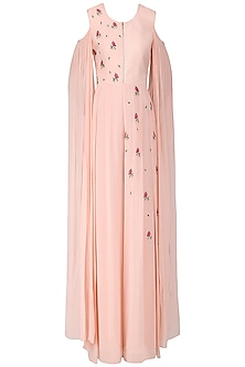 Blush Pink Embroidered Cold Shoulder Jumpsuit