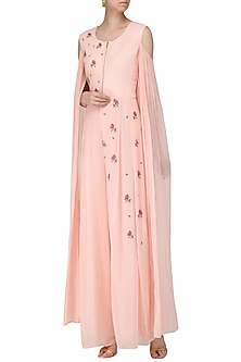 Blush Pink Embroidered Cold Shoulder Jumpsuit by Limerick By Abirr N' Nanki