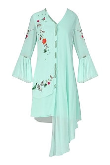 Mint Blue Embroidered Drape Dress
