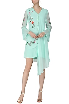 Mint Blue Embroidered Drape Dress by Limerick By Abirr N' Nanki