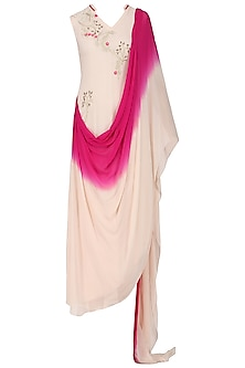 Pink Ombre Embroidered Drape Dress