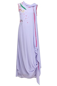 Lavender Embroidered Drape Midi Dress