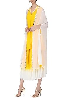 Yellow Embroidered Kurta with Attached Cape and Sharara Pants Set by Limerick By Abirr N' Nanki