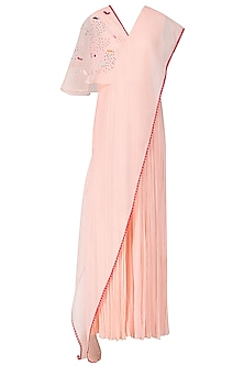 Blush Pink Embroidered Jumpsuit with Attached Drape