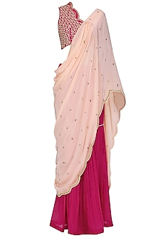 Fuschia Pink Embroidered Blouse with Attached Drape and Gharara Pants Set