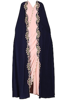 Blush Pink Drape Saree with Navy Blue Embroidered Cape