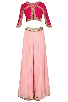 Fuschia Pink Floral Work Cape Top, Palazzo and Draped Skirt Set by Limerick By Abirr N' Nanki
