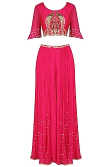 Fuschia Pink Peacock Motifs Cape Top, Palazzo and Draped Skirt Set