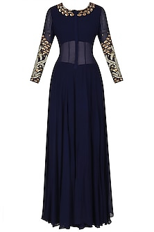 Navy Blue Floral Embroidered Anarkali Set