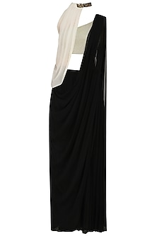 Black Prestitched Saree with Off White Blouse and Cape