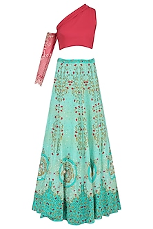 Red Embroidered Off Shoulder Crop Top with Turquoise Printed Skirt by Limerick By Abirr N' Nanki