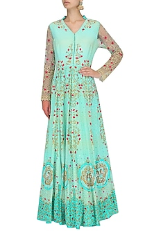 Turquoise Pearl, Sequins and Bead Work Maxi Dress by Limerick By Abirr N' Nanki