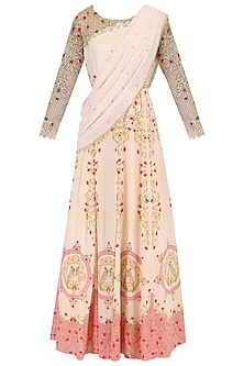 Blush Pink Pearl and Sequins Printed Cape Dress