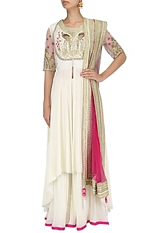 Ivory Peacock Motif Embroidered Asymmetrical Kurta and Sharara Set by Limerick By Abirr N' Nanki