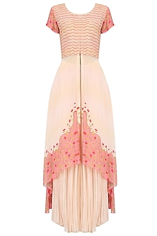 Blush Pink Cord Embroidered Asymmetrical Kurta and Sharara Set