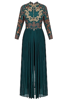 Deep Green Crewel Embroidered Full Length Tunic with Pants