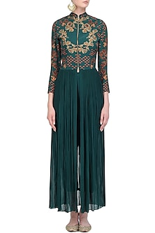 Deep Green Crewel Embroidered Full Length Tunic with Pants by Limerick By Abirr N' Nanki