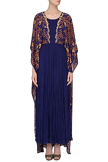 Royal Blue Dabka Embroidered Cape Dress by Limerick By Abirr N' Nanki