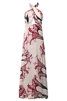 Ivory Floral Cranberry Print Cross Bodice Gown