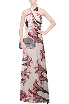 Ivory Floral Cranberry Print Cross Bodice Gown by LOLA by Suman B