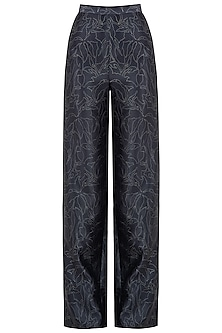 Black Traced Lace Printed Trousers