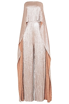 Gold Asymmetrical Bias Flare Strapless Jumpsuit by LOLA by Suman B