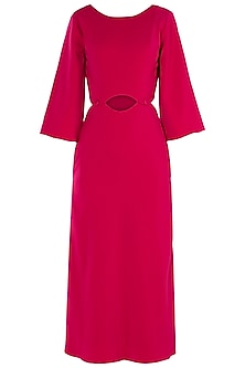 Fuschia Button Down Cutout Midi Dress by LOLA by Suman B