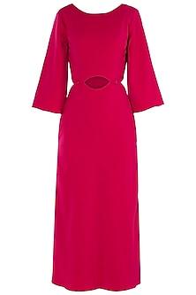 Fuschia Button Down Cutout Midi Dress by LOLA by Suman B