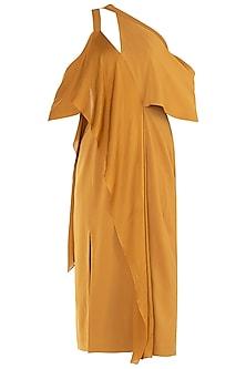 Mustard Yellow Drape Midi Dress by LOLA by Suman B