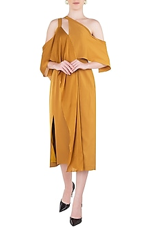 Mustard Yellow Drape Midi Dress by LOLA by Suman B